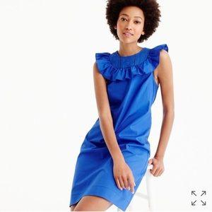 J. Crew Ruffle-Neck Dress Royal Blue Size 2 NWT
